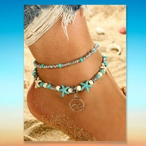 Silver Ocean Anklet Turquoise Beaded Wave Charm
